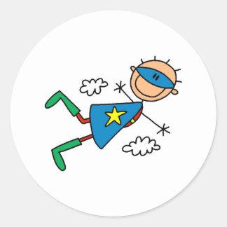 Figura pegatinas del palillo del superhéroe pegatinas redondas