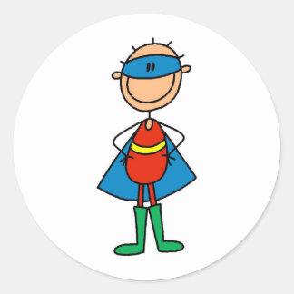 Figura pegatinas del palillo del superhéroe pegatina redonda