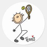 Figura pegatinas del palillo del tenis pegatina redonda