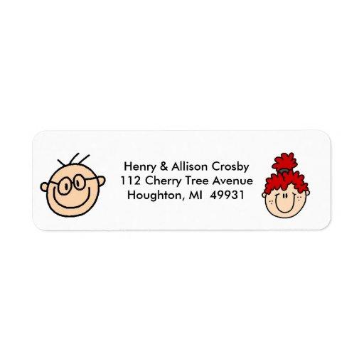 Figura personalizada etiquetas del palillo de dire etiquetas de remite
