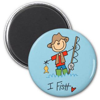 Figura pescador del palillo imán de frigorífico