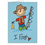Figura pescador del palillo tarjeton