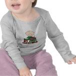 Figura primer navidad del palillo del muchacho camiseta