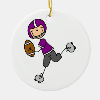 Figura púrpura del palillo del fútbol adorno navideño redondo de cerámica