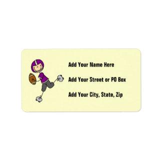 Figura púrpura del palillo del fútbol etiquetas de dirección
