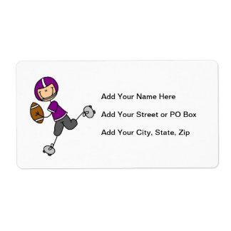 Figura púrpura del palillo del fútbol etiquetas de envío