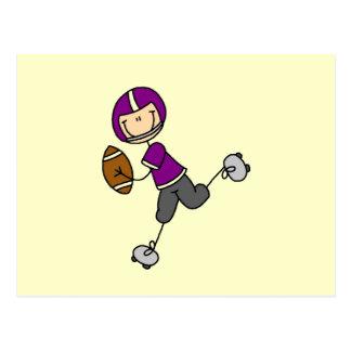 Figura púrpura del palillo del fútbol postal