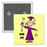 Figura púrpura graduado del palillo del chica pins