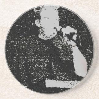Figura que habla blanco y negro resumido posavasos personalizados