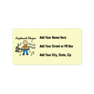 Figura regalos masculinos del palillo del teclista etiqueta de dirección