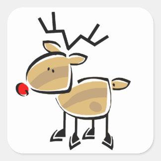 Figura reno del palillo del navidad pegatinas cuadradas