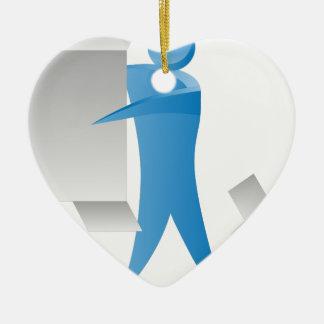 Figura reunidores del palillo del hombre del motor adorno navideño de cerámica en forma de corazón