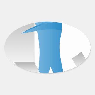 Figura reunidores del palillo del hombre del motor pegatina ovalada