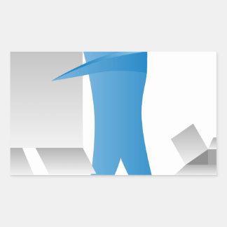 Figura reunidores del palillo del hombre del motor pegatina rectangular