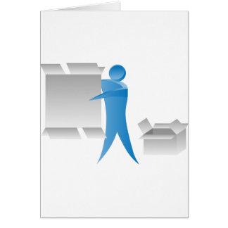 Figura reunidores del palillo del hombre del motor tarjeta de felicitación