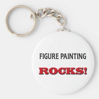 Figura rocas de la pintura llaveros personalizados