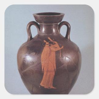 Figura roja amphora del ático pegatina cuadrada