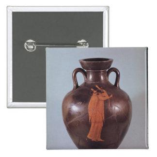 Figura roja amphora del ático pin cuadrado
