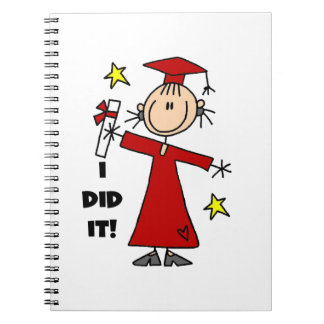 Figura roja graduado del palillo del chica spiral notebooks