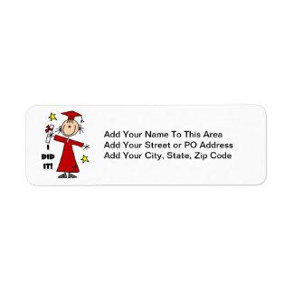 Figura roja graduado del palillo del chica etiqueta de remitente