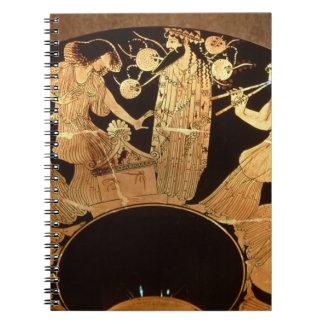 Figura roja kylix del ático que representa Dionysu Notebook