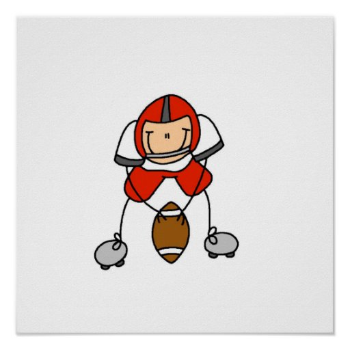 Figura rojo del palillo del fútbol impresiones