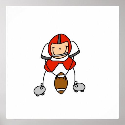 Figura rojo del palillo del fútbol póster