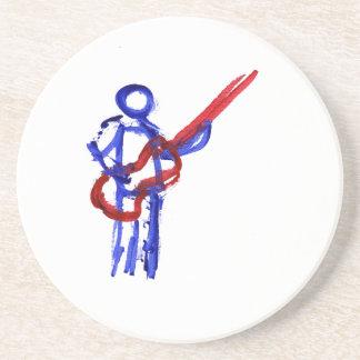 Figura rojo y azul del esquema del bajista posavaso para bebida