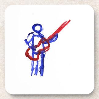 Figura rojo y azul del esquema del bajista posavasos de bebidas