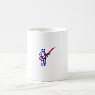 Figura rojo y azul del esquema del bajista taza de café