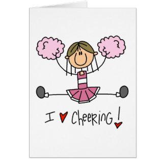 Figura rosada camisetas y regalos del palillo de l tarjeta pequeña
