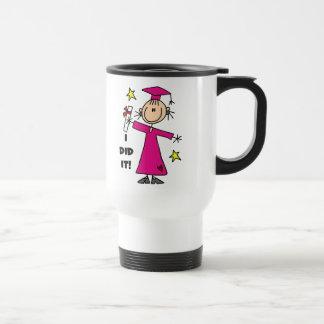 Figura rosada graduado del palillo del chica taza térmica