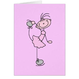 Figura rosada patinador del palillo del chica de h tarjeton