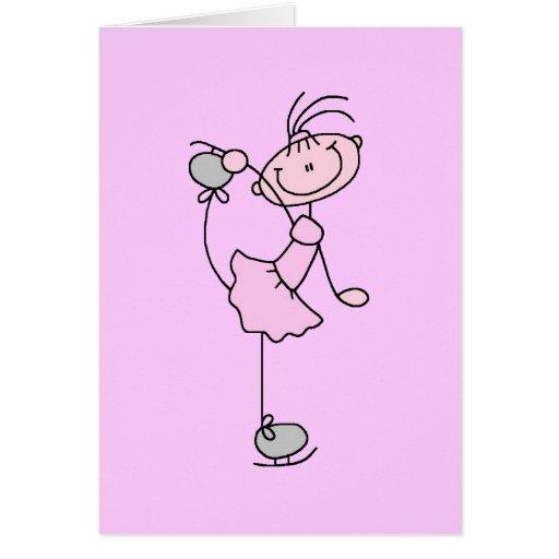 Figura rosada patinador del palillo del chica de h tarjeta pequeña