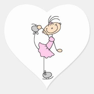 Figura rosada patinador del palillo del chica de colcomanias de corazon personalizadas