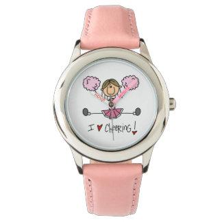 Figura rosada reloj del palillo de Cheeleader
