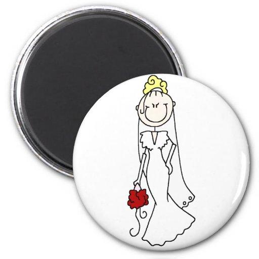 Figura rubia imán del palillo de la novia