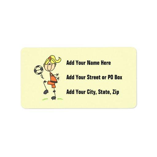 Figura rubia regalos del palillo del chica del etiqueta de dirección