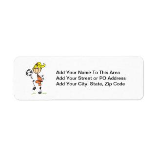 Figura rubia regalos del palillo del chica del jug etiqueta de remite
