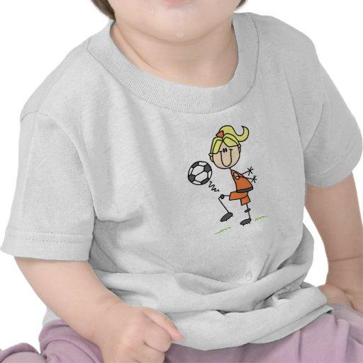 Figura rubia regalos del palillo del chica del camiseta