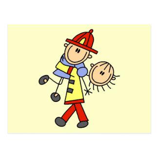 Figura salvares vidas del palillo del bombero postales