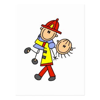 Figura salvares vidas del palillo del bombero tarjetas postales