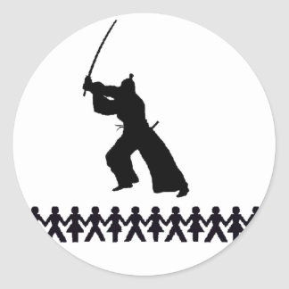 Figura samurai del palillo pegatina redonda