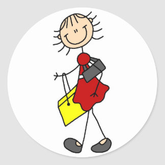 Figura señora Sticker del palillo de las compras Etiqueta Redonda