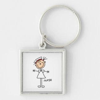 Figura simple camisetas y regalos del palillo de l llavero cuadrado plateado