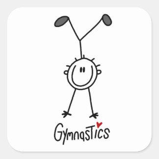 Figura simple gimnasta del palillo pegatina cuadrada