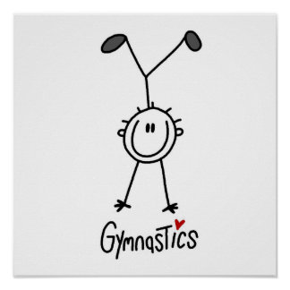 Figura simple gimnasta del palillo póster