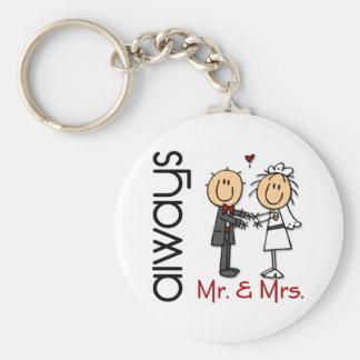 Figura Sr. y señora Always del palillo de los pare Llavero Redondo Tipo Pin