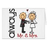 Figura Sr. y señora Always del palillo de los pare Tarjetas
