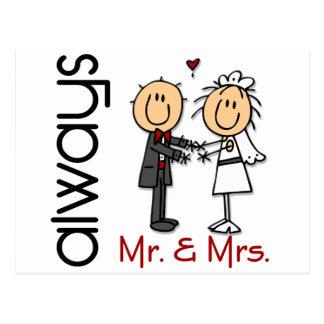 Figura Sr. y señora Always del palillo de los pare Tarjeta Postal
